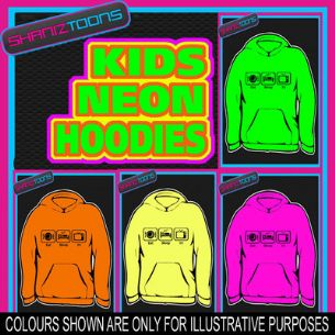EAT SLEEP WATCH TV COUCH POTATO FUNNY NEON  ELECTRIC KIDS CHILDS HOODIE HOODY
